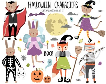 Halloween Clipart - Cute Halloween Clip Art Set, Holiday Clipart, Animal Clipart, Digital Clipart, Commercial Use Clipart, Vector Clipart