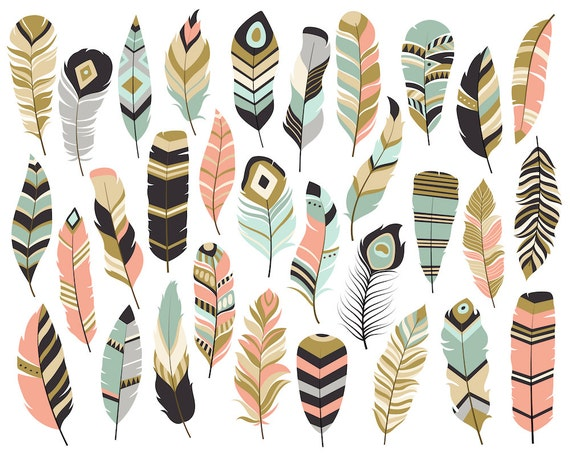 Tribal Feathers Clipart Set Of 31 Vector Png Amp Jpg