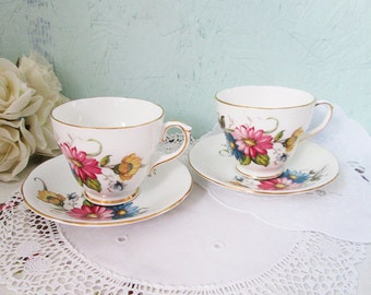 2 Vintage floral teacups and saucers, china tea cups with flowers, Duchess Bone China England, Set tea cups