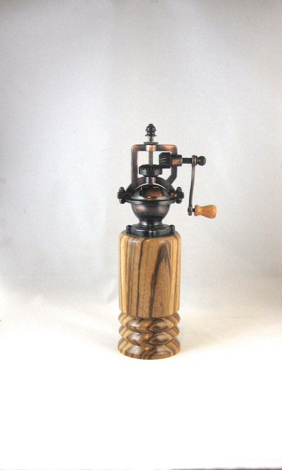 Pepper Grinder - Antique Style, Crank Handle, hand turned from zebrawood, great housewarming or 5th anniversary gift, handmade in Canada by RosewellWoodworking steampunk buy now online