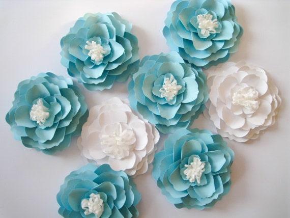8 Paper Flowers White Paper Flowers Medium Blue Flowers