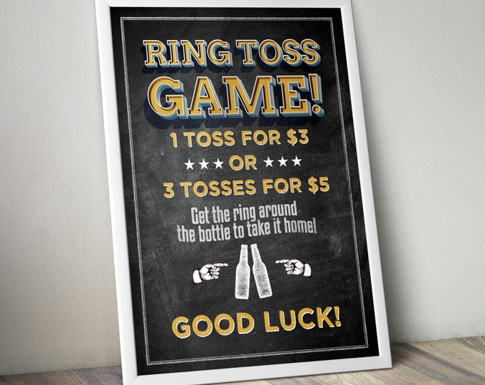 Ring Toss sign, Baby is brewing, Coed baby shower game- Beer baby shower - couples baby shower, BBQ, Printable file