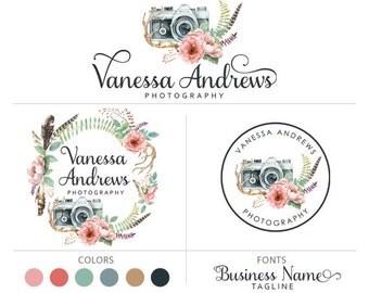 Branding package camera logo feather logo photography logo boho flower logo marketing kit floral logo antler logo premade logo package