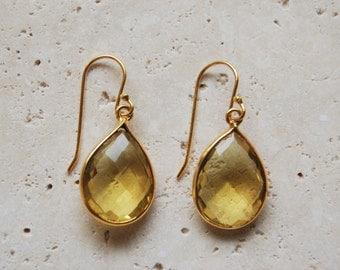 Lemon Quartz Gemstone Earrings. Lemon. Gemstone. Earrings. Autumn. Seasons.