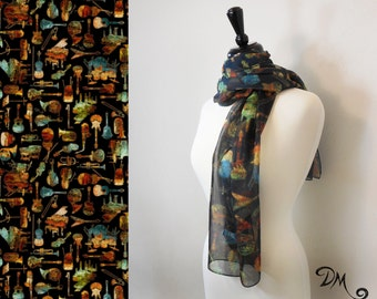 Music Lover Art Scarf titled by Dan Morris, novelty scarves , 100% Polyester Chiffon