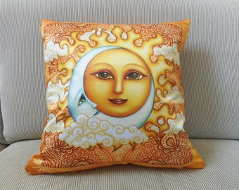 """Accent Pillow, Decorative Pillow, Celestial Art, 18""""x18, Dan Morris Sun Moon Art, Home Decor Pillow"""