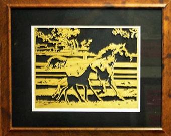 Horse and Colt...Framed Wood Art