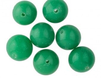 Vintage Japanese Jade Green Glass Rounds. 11mm. Pkg of 10. B11-GR-0560(e)