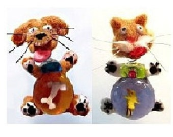 Jiggle-Head Glass Paperweight Buttons - Moveable!