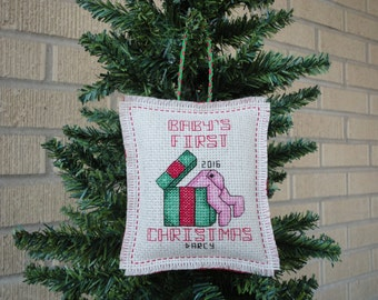 Baby First Christmas Ornament Cross Stitch - Made to Order
