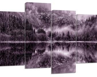 winter lake /set of 4 new split canvas prints.