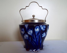 Antique Biscuit Barrel By George Jones Imperial Ware. Edwardian Blue And White Crocus Biscuit Jar or Cookie Jar with silver plated lid