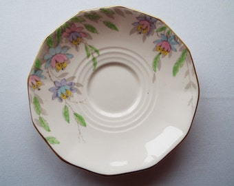 Vintage China Saucer, 1930s Plant Tuscan Plate. Pink Saucer or Dish