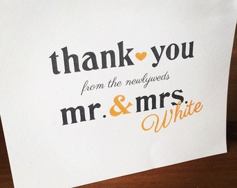 Newlywed Thank You Card - Printable File