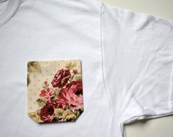 Floral pocket tee,floral pocket shirt for women, pocket t-shirt
