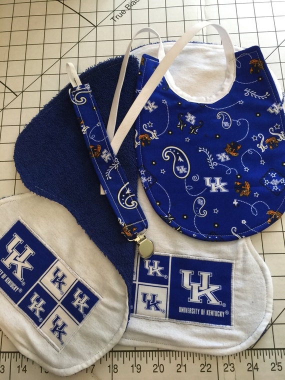 University of Kentucky Baby Bib Burp Cloth and Pacifier Clip