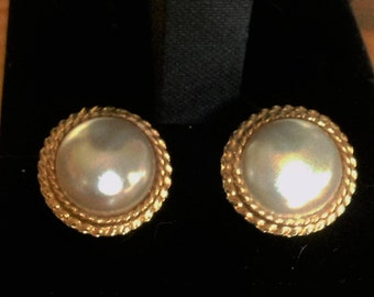 Faux Pearl Pierced Earrings