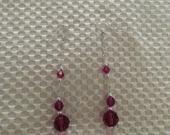 Silver Earring 925 and Red Crystal