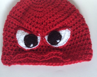 Inside Out Crochet Anger Kids Hat, Inspired Character Beanie, Kids and Adults Hat