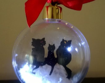 Three Cats Silhouette in the Snow Acrylic Bauble can be Personalised