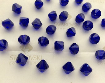 Vintage Swarovski #5301 Crystal Cobalt Blue Bicone Faceted Beads 4mm 5mm 8mm