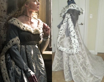 The White Queen Costume; Elizabeth Woodville Costume; Elizabeth Rivers Gown; The White Princess; Medieval Gown; Fur Gown; Renaissance Gown;