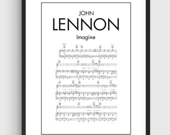 John Lennon Imagine Song Music Notes Poster, Black & White Minimal Print Poster, Art, Home Art, Minimal Graphics, Music Poster, Home Decor