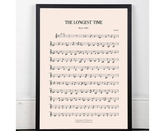 The Longest Time, Billy Joel, kitchen art, bar art, INSTANT DOWNLOAD, sheet music, studio art, bathroom art, studio art,