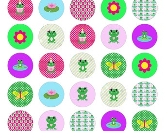 One Inch Circles Frogs Digital Collage Sheet