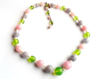 Vintage Pastel Art Glass Bead Necklace Choker Easter Spring Pink Purple Green Faux Pearl Japan 1950s 1960s