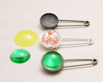 Blank Brooch Bezels -  Safety Pin Bezel Tray - Cabochons Brooch Setting - Tie Tack Blanks - Label Pin Settings - N Sizes