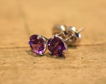 Amethyst Earrings in 14 Karat White Gold Februrary Birthstone 3 Prong Martini Stud Solid Gold Earrings with Push Back