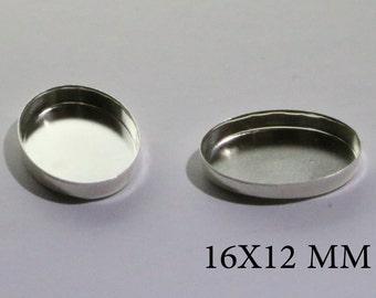 Sterling Silver Oval Bezel Cups16x12 mm