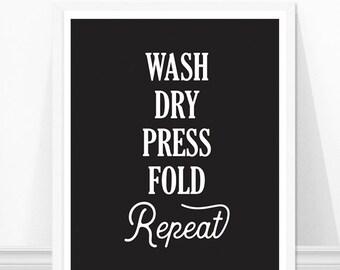 Wash Dry Press Print, Laundry Room Sign, Laundry Print, Laundry Room Decor, Laundry Instructions
