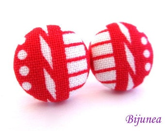 Red Stripes earrings - Red White stripe stud earrings - Red stripes posts - Stripes studs - Red stripes post earrings sf1149