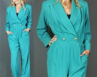 ON SALE 20% off Vintage 1980's Avant Garde Aqua Green Tuxedo Wrap Front PantSuit Party Jumpsuit Playsuit M-L