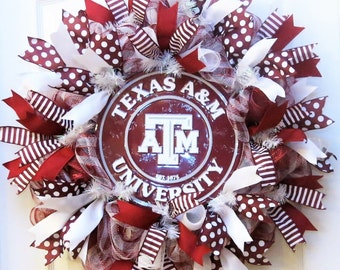 College Wreath, deco mesh wreath with aTm sign, Texas A&M Wreath, aTm Wreath, mesh Texas wreath, football wreath
