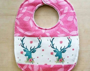 Pink and Teal Spring Deer Baby Bib
