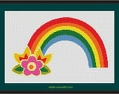 Rainbow and Flowers Counted Cross Stitch Pattern (12.71 x 7.86 inches or 32.29 x 19.96 cm) download printable PDF file (4091)