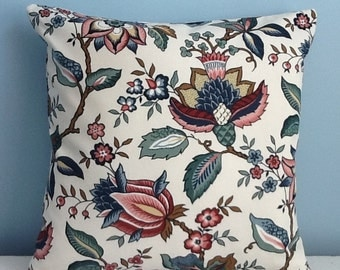 Jacobean floral pillow cover. Waverly, Blue, white, burgundy, French country. 18x18 decorator throw pillow. Zipper. Handmade sofa pillow.