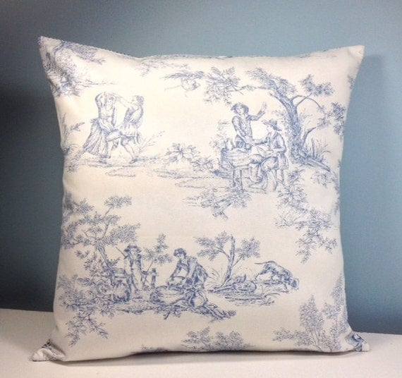 Blue toile throw pillow cover French country Cottage chic