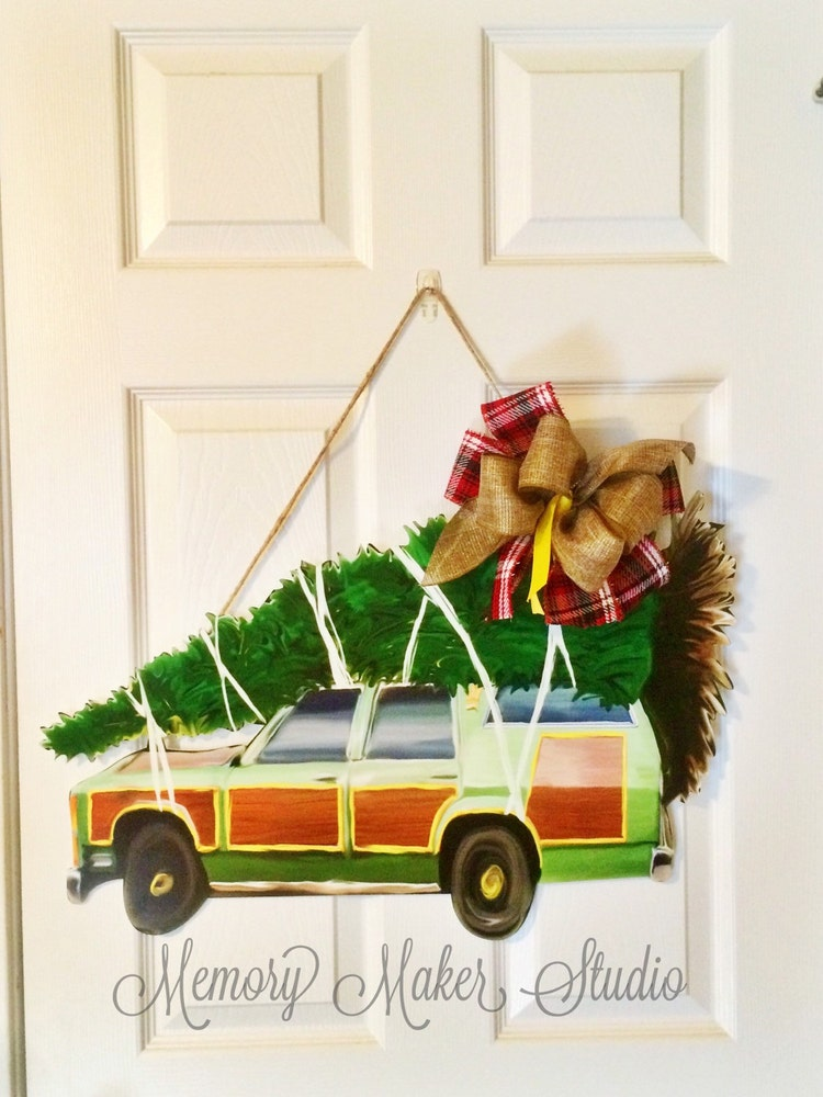 Christmas Door Hanger Station Wagon Door By Memorymakerstudio
