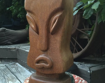 Vintage Tiki /Easter Island Style Carved Wood Lamp.