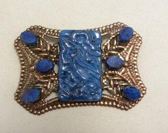 Vintage Molded Blue Glass Victorian Revival Sash Pin Brooch