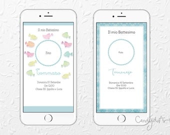Digital invitation-Baptism Baby-Blue Invitation