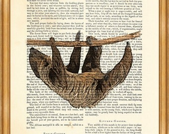 Sloth illustration, Print on Vintage Dictionary Page, Dictionary Page Book Art Print 8 x 10 inches