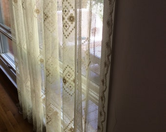 Charming French Lace Curtain Very Large Window Curtain Vintage Cotton Shabby Chic French Door Country Cottage Window Window File Lace Nordic