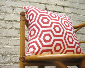 Decorative cushion cover - HEXAGONALS IN RED from Prestigious Fabrics - Pillow Cover  - Square pillow - Cushion cover