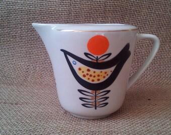 Vintage stoneware Milk Jug Creamer Pottery by Dovbish Porcelain Factory Ukraine 1960 s.