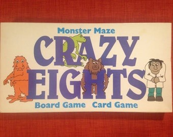 RARE Crazy Eights Monster Maze Board Game Card Game